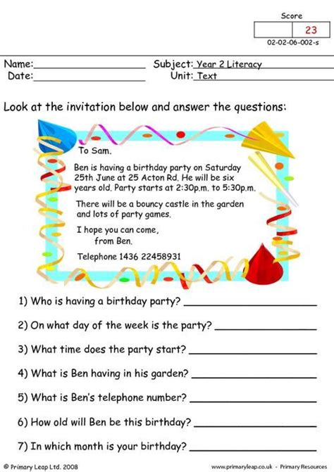year  literacy text work printable resources
