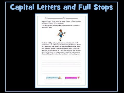 capital letters and stops worksheets by krazikas