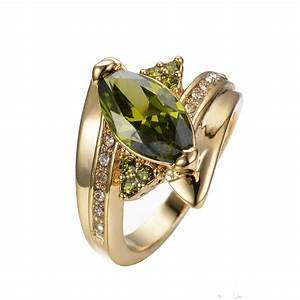 Jewelry cz ring size 8 9 green peridot women39s 10kt yellow for Cz wedding rings for women
