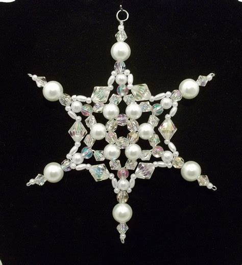 Snowflake Ornament White Pearl Clear Christmas