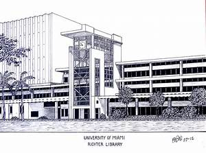 University Of Miami Drawing by Frederic Kohli