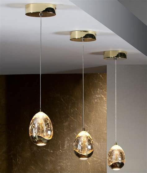 gold hanging lights led single drop pendant with bubbles inside the glass