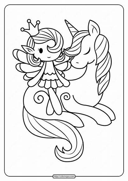 Unicorn Coloring Fairy Printable Fantasy