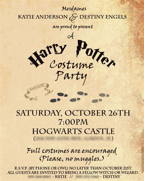 harry potter invitation template harry potter part 1 the invites filthy muggle