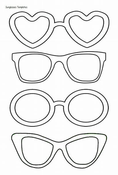 Glasses Template Cut Heart Printable Valentine Coloring