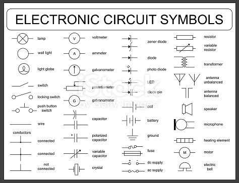 Set Electronic Circuit Symbols Stock Vector Art More
