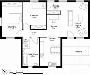 plan maison toit plat plain pied segu maison With plan maison toit plat 120m2