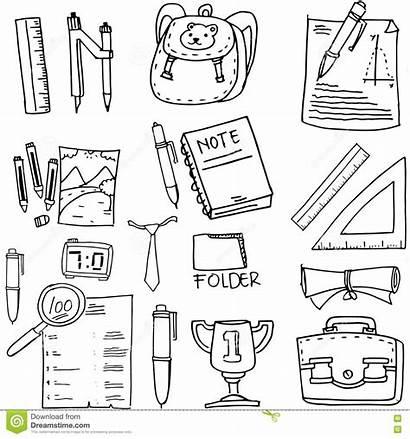 Supplies Doodle Paper Ruler Illustration Vector