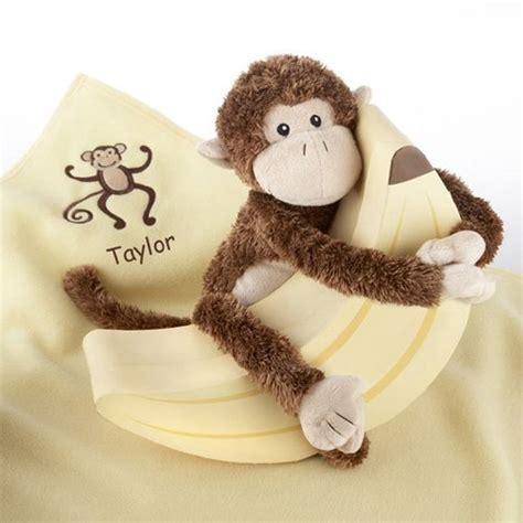personalized monkey plush  blanket gift set