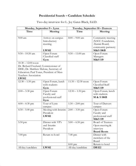 interview schedule schedule template 11 free word pdf documents free premium templates