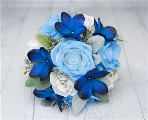 blue plumeria roses  gold detail real touch wedding