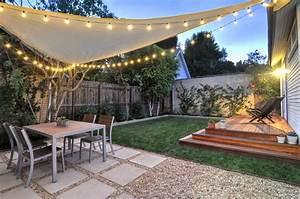 west hollywood back yard redwood platform deck gravel With outdoor string lights edmonton