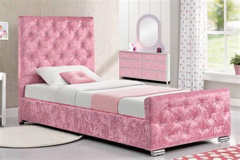 Pink Crushed Velvet Single Bed Frame With Under Storage