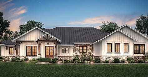 Ranch Style House Plan with 4 Bed 4 Bath 3 Car Garage