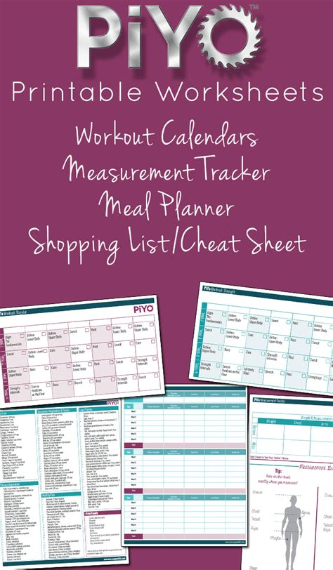 piyo printable worksheets  crazy good life