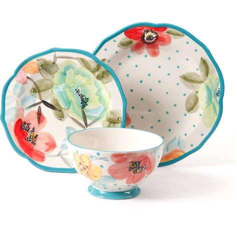 pioneer woman dinnerware bloom piece drummond ree dishes floral decorated sets patterns stoneware amazon pc walmart cowgirl giveaway lace table