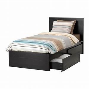 Lit 90 Ikea : malm cadre de lit haut 2 rangements brun noir ikea ~ Premium-room.com Idées de Décoration