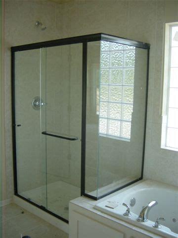 glass shower doors  black frame light glass shower