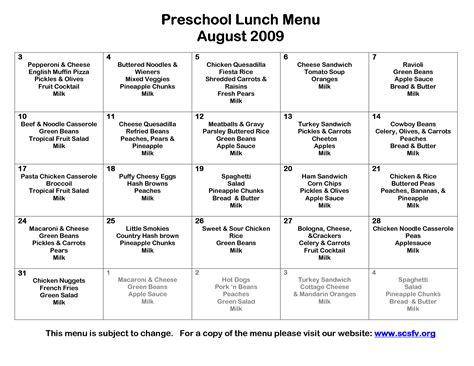free printable daycare menus forprint 392 | 8 best images of printable preschool lunch menu