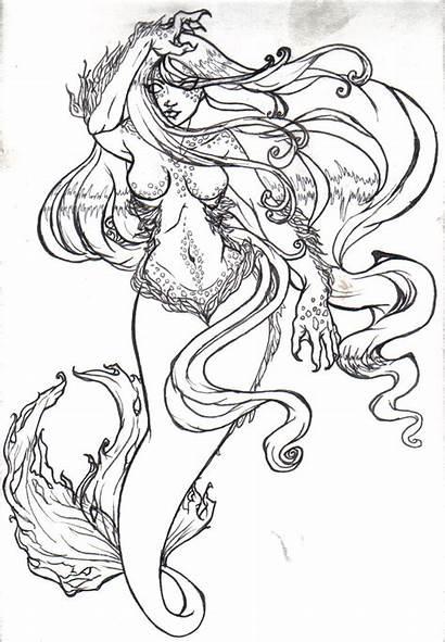 Mermaid Drawing Evil Tattoo Drawings Mermaids Realistic