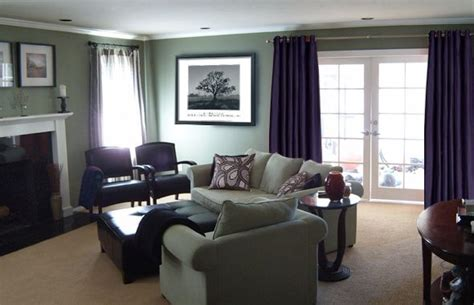 sage green and purple idea for living room to go with