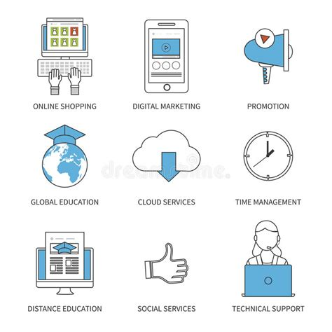 digital marketing distance learning flat design modern vector illustration concept for stock