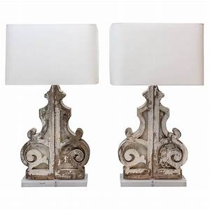Pair, Of, Large, Custom, Table, Lamps, From, Painted, Corbels, At, 1stdibs