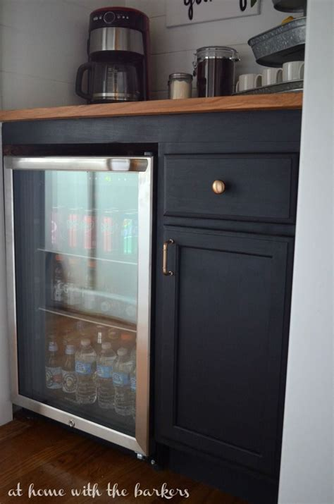Learn to make this diy rustic coffee bar / mini fridge table from cheap dimensional lumber. DIY Beverage Bar   Bar furniture, Bars for home, Home coffee stations