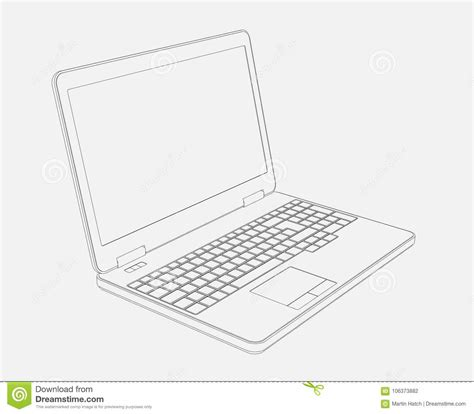 drawing  laptop computer stock illustration