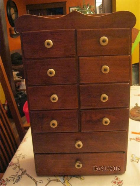 Antique Apothecary Or Spice Or Tea Cabinet 10 Drawers