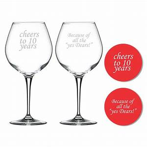 Cheers 10th Marriage Anniversary Wine Glasses Set of 2