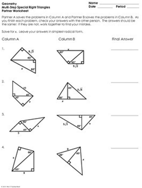 Multistep Special Right Triangles Partner Worksheet By Mrs E Teaches Math