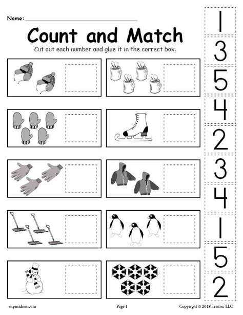 free printable winter counting and matching cut and paste worksheet supplyme