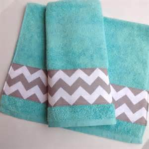 gray chevron bathroom set grey chevron and aqua towel set set of from augustave on etsy
