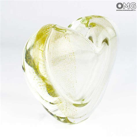 cuore e vasi vaso cuore oro sommerso vetro di murano originale omg