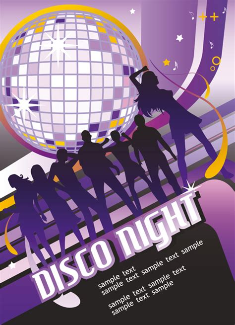 set  disco ball theme background vector