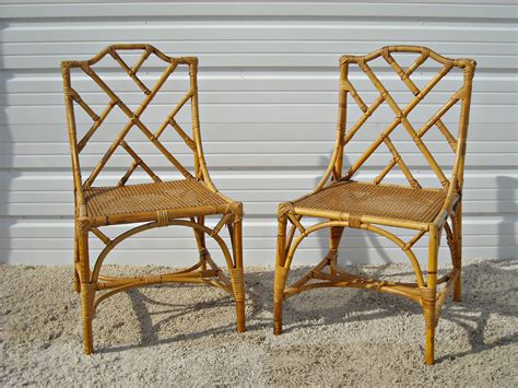 vintage chippendale bamboo rattan chairs  silverbranchhome