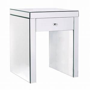 One Drawer Glass Mirrored Effect Bedside Table
