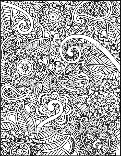 mehndi coloring page henna adult printable  original design