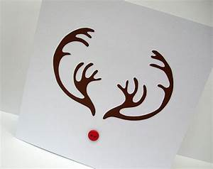 Christmas Card Papercut Reindeer Antlers Card Rudolph the