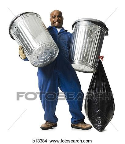 stock photo  garbage man  trash cans  search