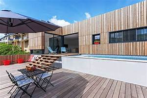 maison en bois contemporaine avec piscine en toit terrasse With salon de terrasse design