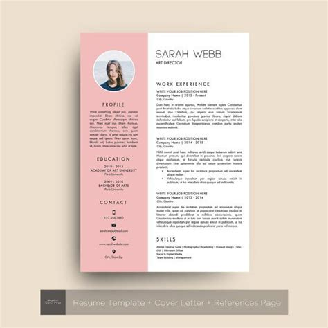 Template Cv Gratuit by Resume Template With Photo 3 Pages Cv Cover Letter