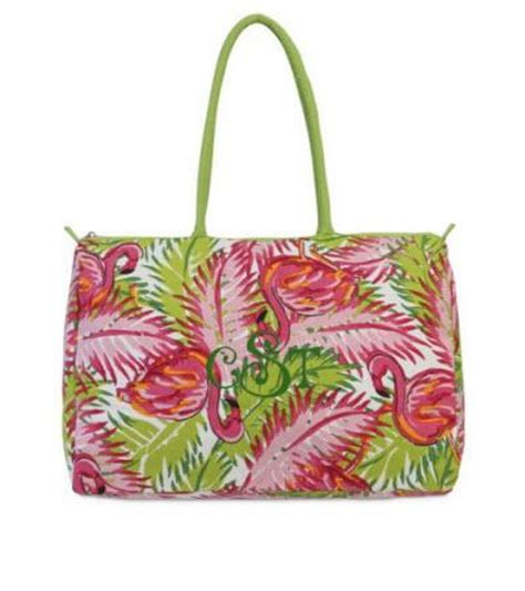 monogrammed fun flamingo beach duffle bag
