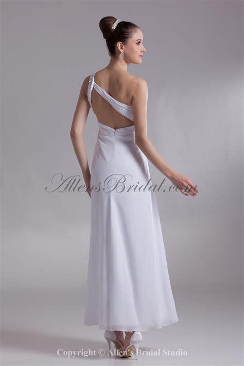 ankle wedding dress allens bridal chiffon straps neckline ankle length
