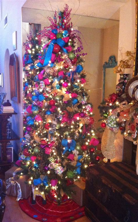 pink and blue christmas tree christmas decor pinterest