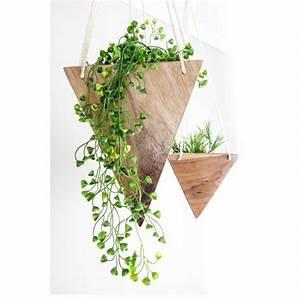Modern Hanging Planter - Walnut Tall