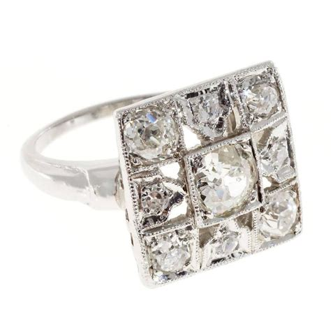 mine deco platinum square cocktail ring for sale at 1stdibs