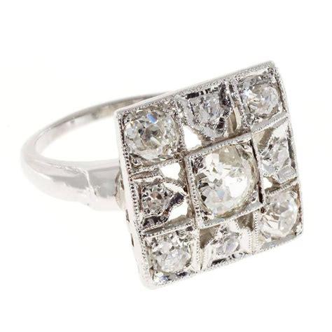 mine deco platinum square cocktail ring
