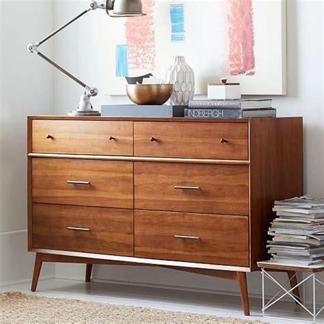 west elm flat bar storage desk mid century 6 drawer dresser acorn west elm